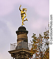 Stuttgart, Germany golden Hermes statue - Stuttgart, Germany...