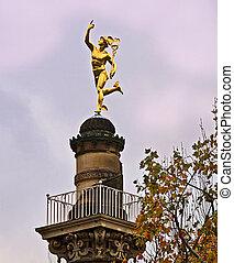 Stuttgart, Germany golden Hermes statue - Stuttgart, Germany...