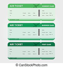 Three Classes Boarding Pass Green Tint