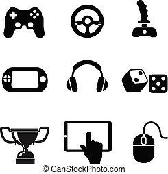 Vector black game icons set white background