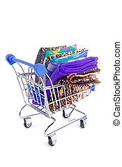shopping trolley with various fabric