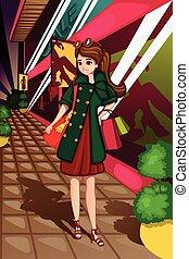 Stylish women going shopping