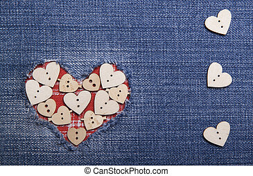 Textile applique for Valentines Day - Heart symbol in denim...