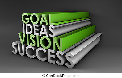 Vision Success From Goal and Idea in 3d