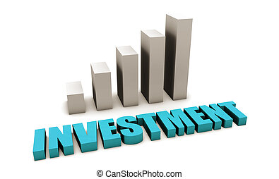 Blue Investment Returns in 3d With Bar Graph