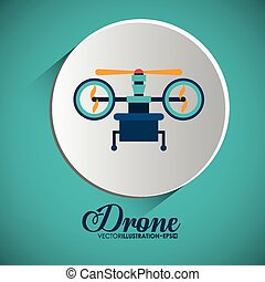 Drone design over white background, vector illustration.