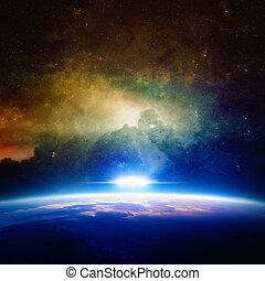 planeta, enfoques, ovni