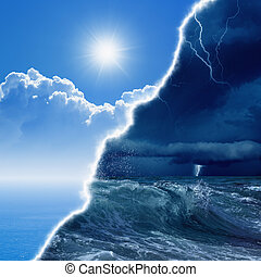 Weather forecast concept background - opposite weather...