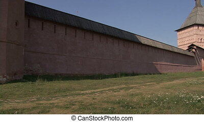 Old fortress wall in the Russian monastery