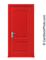 Closed door 3d illustration isolated on white background