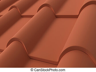 Roof tiles 3d illustration isolated on white background