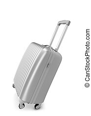 Silver suitcase 3d illustration isolated on white background...