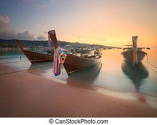 Beautiful beach with boats