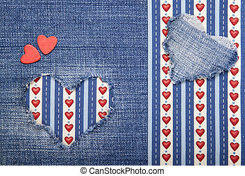 Textile applique for Valentine's Day. - Heart symbol in...