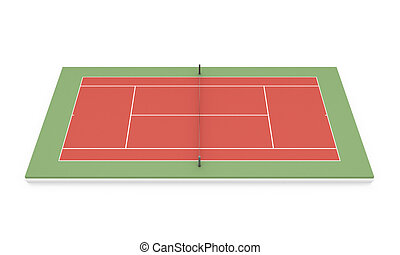 Tennis clay court on a white 3d illustration