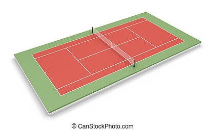 Tennis court on a white - Tennis clay court isolated on...