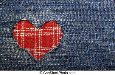 Textile applique for Valentine's Day. - Heart symbol in...