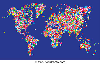 map world flowers wall decoration header or banner