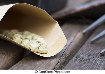 Pea Seeds - Pea seeds in paper envelope