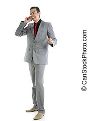 Businessman young full body talking phone