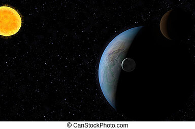Space background - 3D rendering with 1 Earth like planet in...