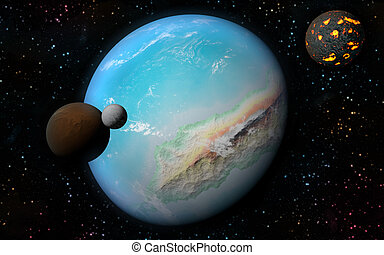 3D Earth like planet - 3D rendering with 1 Earth like planet...