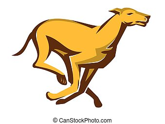 greyhound-dog-race-running - vector illustration of a...
