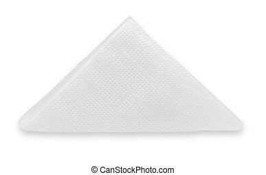 crinkled napkin - White paper napkin folded into a triangle...