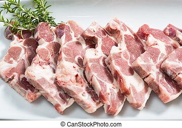 Rack of lamb - Ribs fresh and raw lamb to grilled