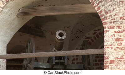 old cannon on the wall of the fortr