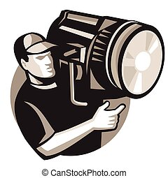 filmcrew-with-spotlight-fresnel - vector illustration of...