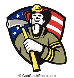 fireman-firefighter-ax-american-front - Illustration of an...