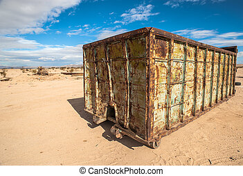 abandoned shipping container