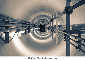 tunnel - Underground tunnel connecting the pipes from the...