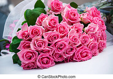 Bouquet beautiful pink roses - Grouping bouquet of beautiful...