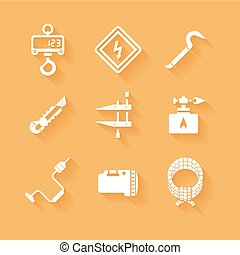 Trendy flat working tools icons white silhouettes Vector...