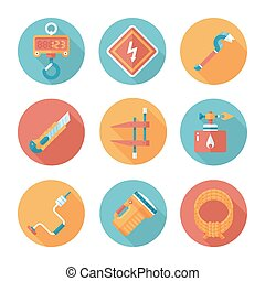Trendy flat working tools icons Vector illustration