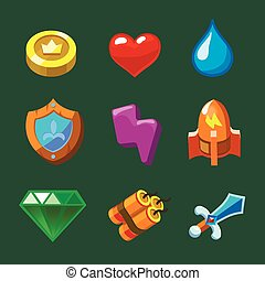 Cartoon icons set for game Vector illustration. - Cartoon...