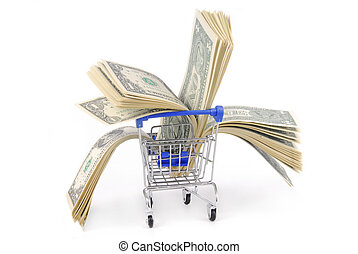 shopping trolley with dolars  isoalted on white