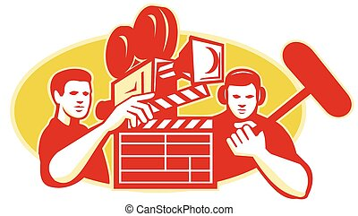 film-crew-movie-camera-clapboard-soundman - Illustration of...