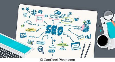 Flat design concept for SEO - Flat design illustration...
