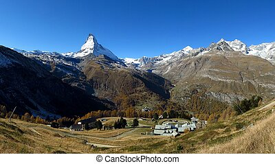 View on the way to the Gornergrat, Riffelalp and Matterhorn