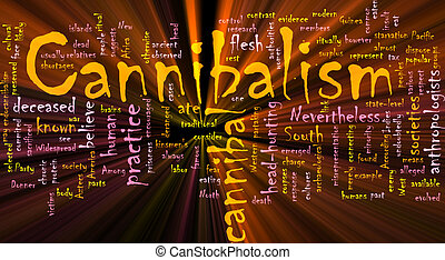 Cannibalism word cloud glowing - Word cloud concept...