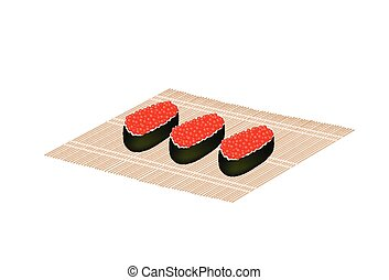 Red Caviar Salmon Roe Roll on Bamboo Mat - Japanese Cuisine,...