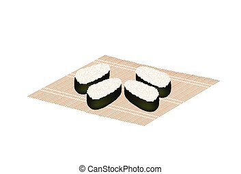 Japanese Rice Maki Sushi on Bamboo Mat - Japanese Cuisine,...