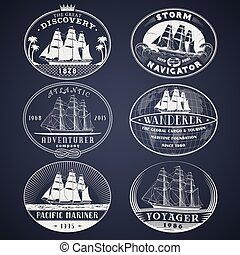 Nautical labels white - Set of nautical and maritime...