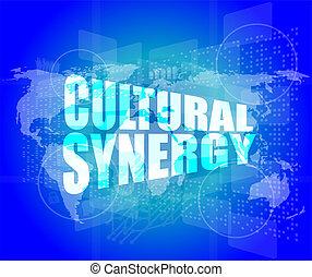 cultural, sinergia, palabras, en, digital, pantalla, con,...