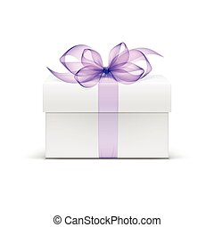 Vector White Square Gift Box with Light Purple Violet...
