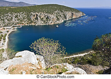 Scenic beach at Peloponisos peninsula in Greece