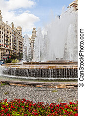 Valencia Citycenter - Spain, Valencia. Panorama of Plaza de...